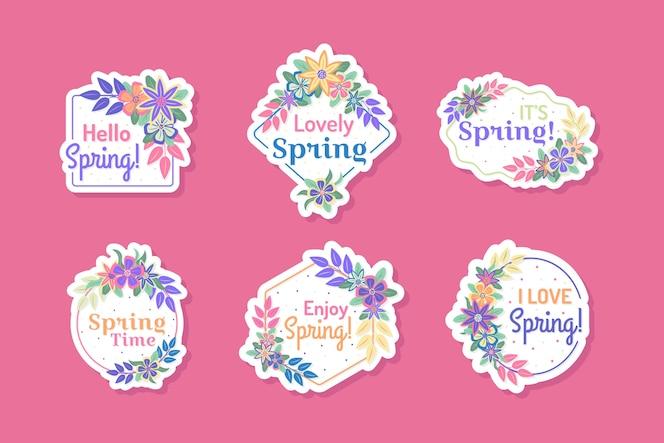 coleção de rótulo primavera design plano