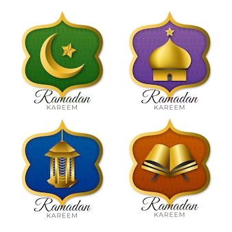 Coleção de rótulo realista do ramadã