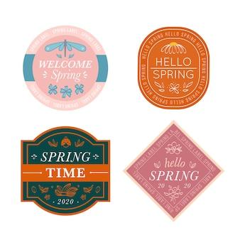 Coleção de rótulo retrô de primavera bem-vindo