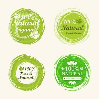 Coleção de rótulo verde 100% natural
