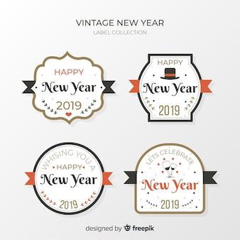 Coleção de rótulo vintage ano novo