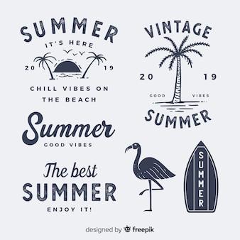Coleção de rótulo vintage verão plana