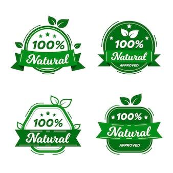 Coleção de rótulos 100% natural