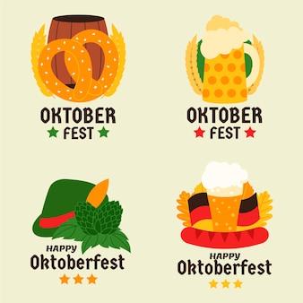Coleção de rótulos da oktoberfest dos desenhos animados