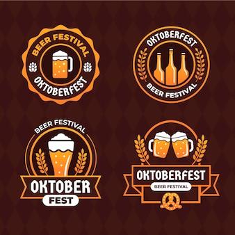 Coleção de rótulos da oktoberfest plana