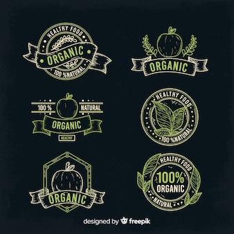Coleção de rótulos de alimentos orgânicos vintage
