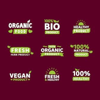 Coleção de rótulos de alimentos orgânicos