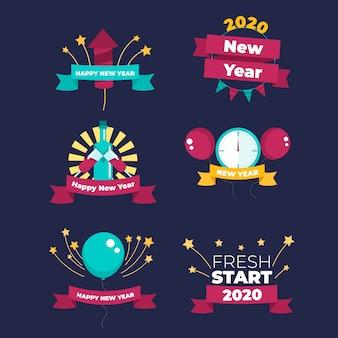 Coleção de rótulos de ano novo 2020