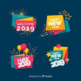 Coleção de rótulos de ano novo de 2019