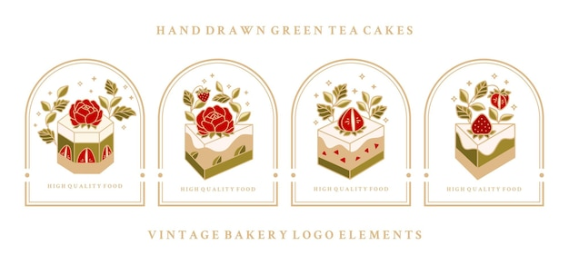 Coleção de rótulos de bolo vintage com morango e moldura