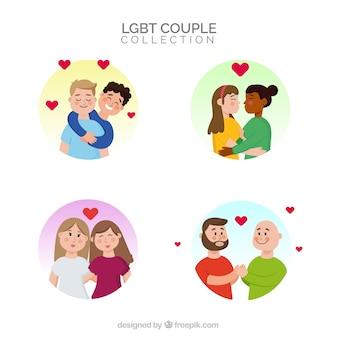 Coleção de rótulos de casal de orgulho lgtb
