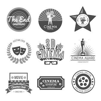 Coleção de rótulos de cinema preta