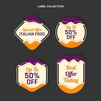 Coleção de rótulos de comida italiana plana
