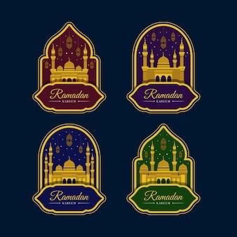 Coleção de rótulos de design plano ramadan