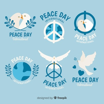 Coleção de rótulos de dia da paz de mão desenhada