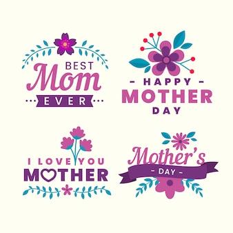 Coleção de rótulos de dia das mães floral