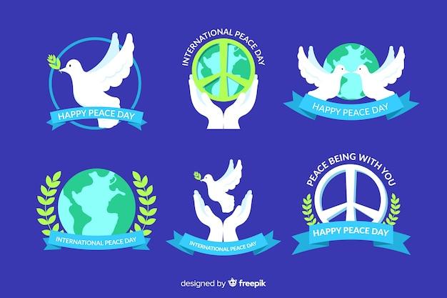 Coleção de rótulos de dia de paz plana