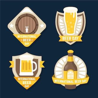 Coleção de rótulos de dia internacional da cerveja plana