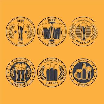 Coleção de rótulos de dia internacional da cerveja