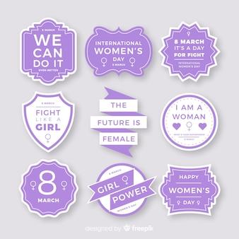 Coleção de rótulos de dia internacional da mulher