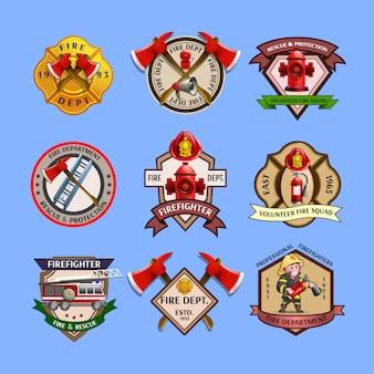 Coleção de rótulos de emblemas de bombeiros