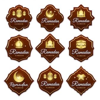 Coleção de rótulos de emblemas do ramadã