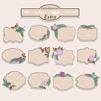 Coleção de rótulos de enfeite floral