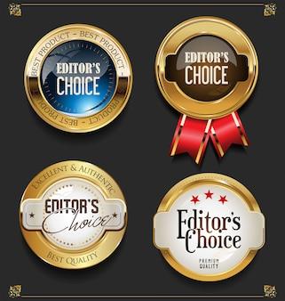 Coleção de rótulos de escolha elegantes editores premium de ouro