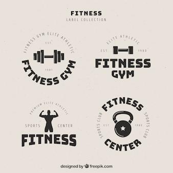 Coleção de rótulos de fitness retrô preto