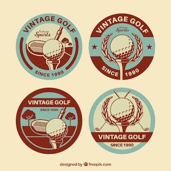 Coleção de rótulos de golfe em estilo retro
