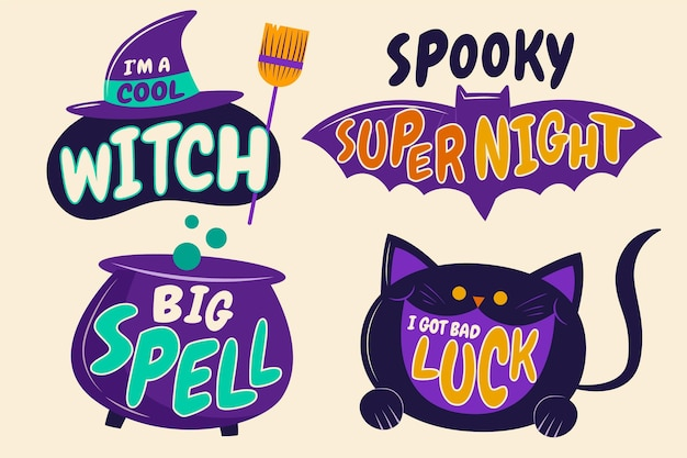 Coleção de rótulos de halloween de design plano desenhado à mão