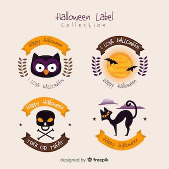 Coleção de rótulos de halloween em design plano