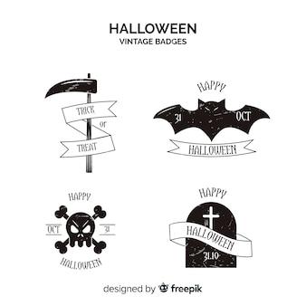 Coleção de rótulos de halloween vintage em preto e branco