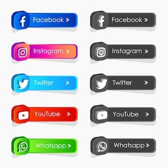 Coleção de rótulos de ícones de mídia social