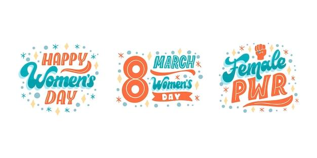 Coleção de rótulos de letras do dia internacional da mulher desenhada à mão