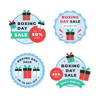 Coleção de rótulos de liquidação de dia de boxe plano