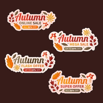 Coleção de rótulos de liquidação plana de outono