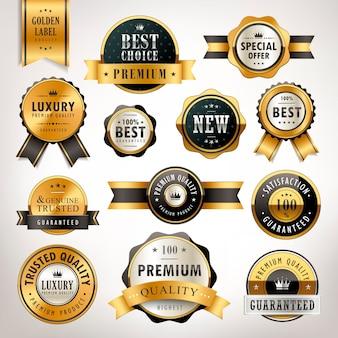 Coleção de rótulos de luxo de qualidade premium dourada sobre fundo branco pérola