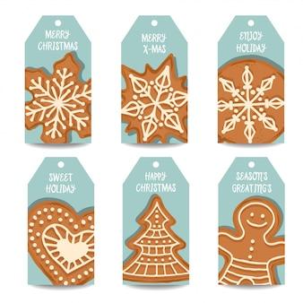 Coleção de rótulos de natal com pão de gengibre