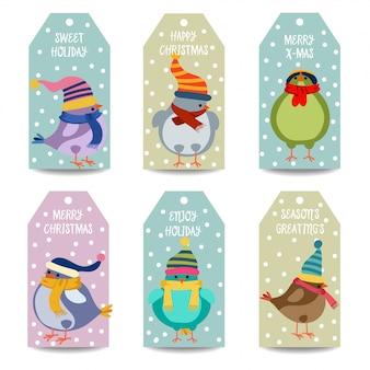 Coleção de rótulos de natal com pássaros