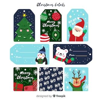 Coleção de rótulos de natal em design plano com desenhos fofos