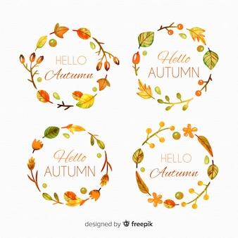 Coleção de rótulos de outono em aquarela