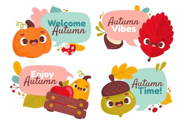 Coleção de rótulos de outono em desenhos animados
