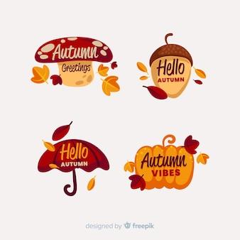 Coleção de rótulos de outono mão desenhada