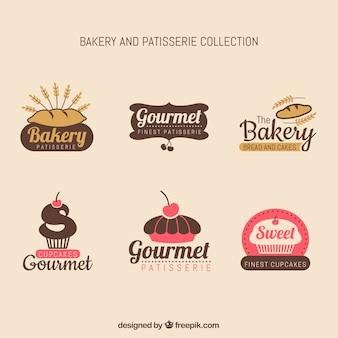 Coleção de rótulos de padaria com estilo vintage