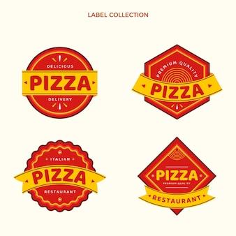 Coleção de rótulos de pizza de design plano