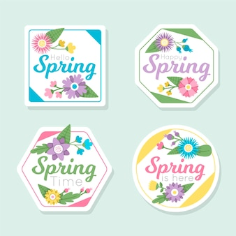 Coleção de rótulos de primavera de design plano