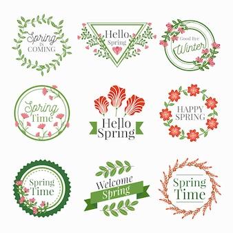 Coleção de rótulos de primavera desenhada à mão