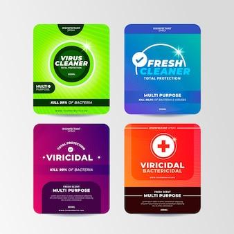 Coleção de rótulos de produtos de limpeza viricidas e bactericidas