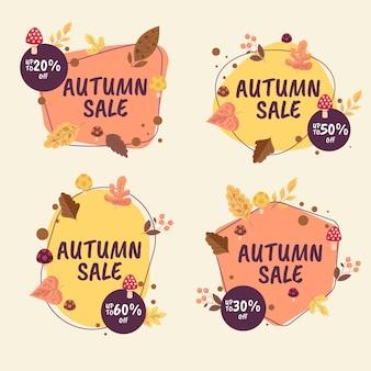 Coleção de rótulos de promoção de outono desenhados à mão